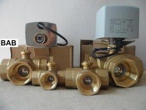 """Image 2 - Ac220v dn15 (g 1/2 """") para dn 32 (g 1 1/4"""") 3 maneira/t tipo 3 fios 2 controle de bronze atuador elétrico válvula de esfera motorizada alta qualidade"""