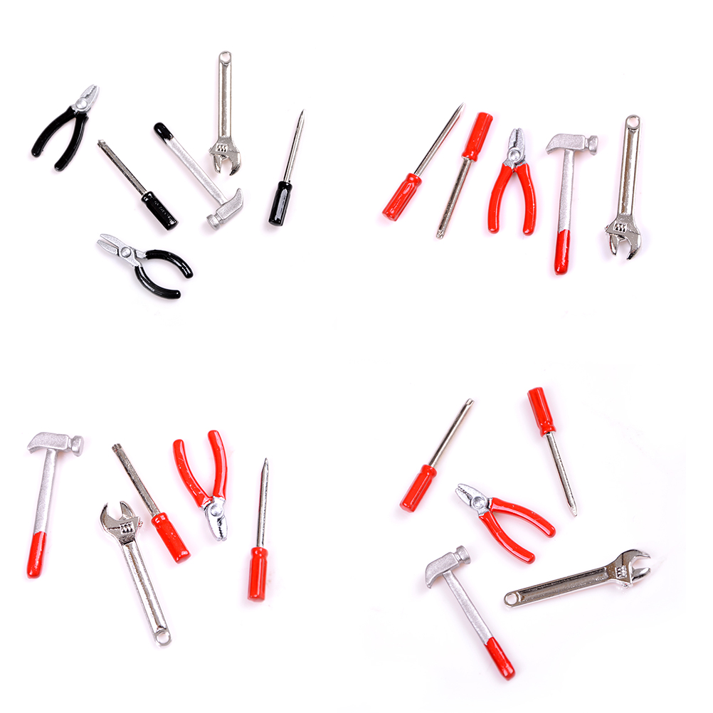 1set 1/12 Dollhouse Scale Miniature Metal Hand Tools Set Dolls House Accessories Furniture Toys Newest Limpid In Sight Toys & Hobbies