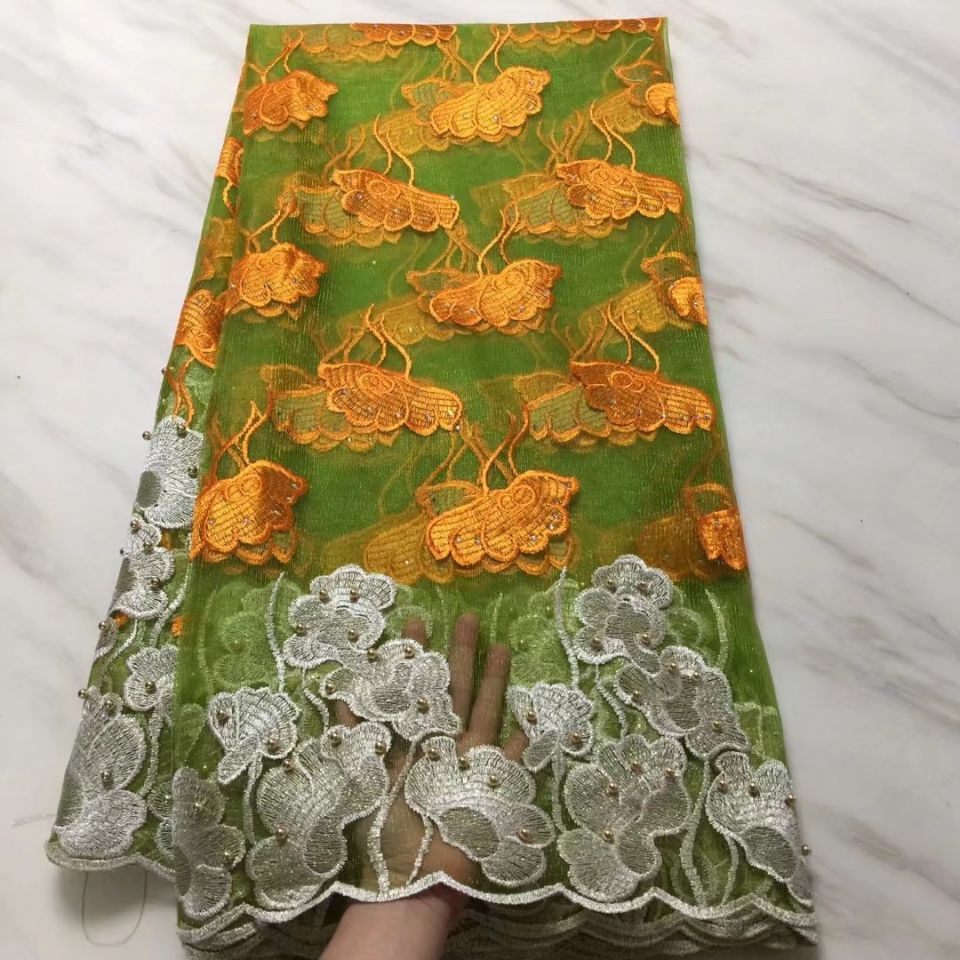 5Yards/pc Hot sale green french net lace fabric with orange and white flower african mesh lace with beads for dress BN110-35Yards/pc Hot sale green french net lace fabric with orange and white flower african mesh lace with beads for dress BN110-3