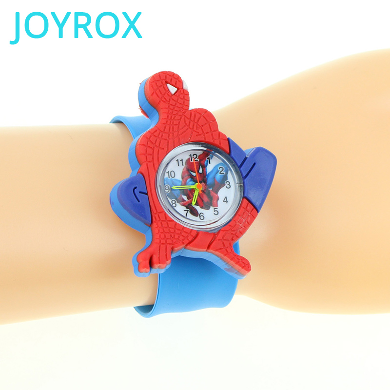 JOYROX Spiderman Child Watches 3D Cartoon Pattern For Boys Girls Clock Rubber Sports Kids Watch Chico Chica Joven Reloj Relogio