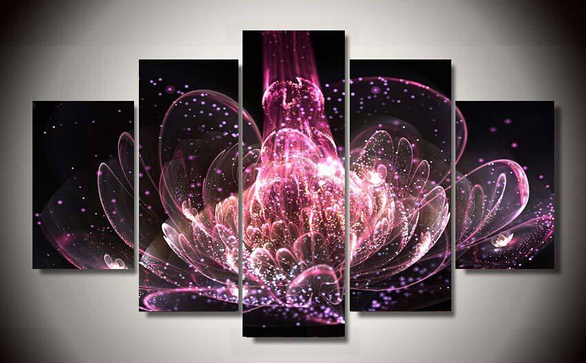 5 Panels Unframed Colorful Abstract Flowers Printed Canvas