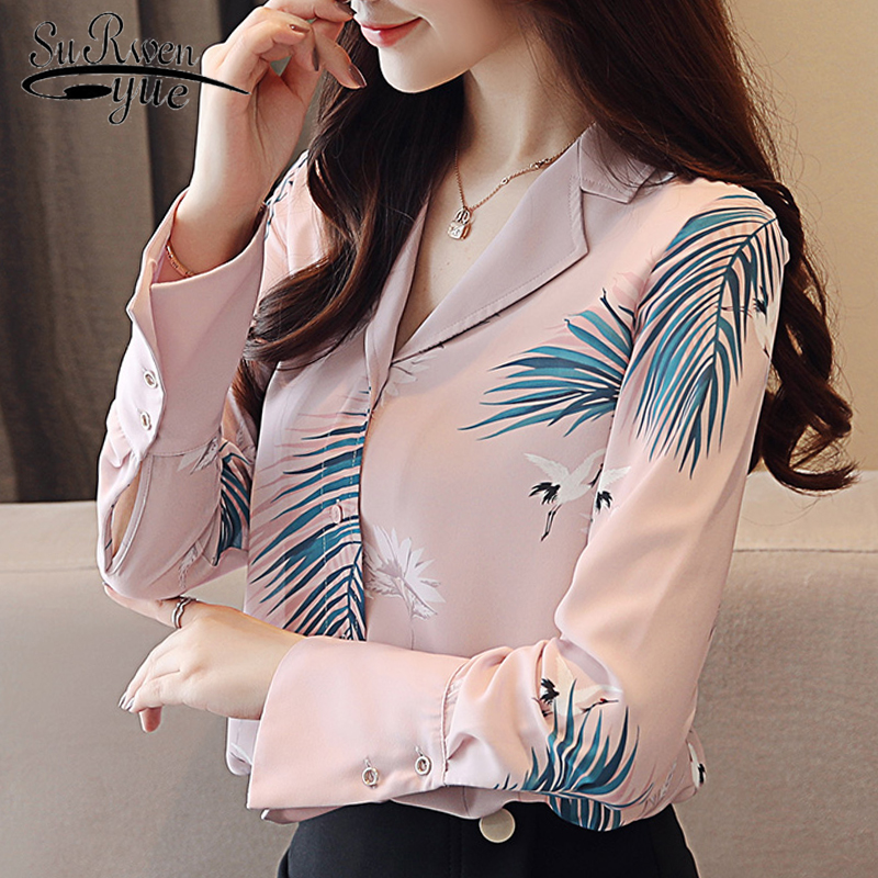 Casual pink print OL   blouse   women tops and   blouses   long sleeve fashion woman   blouses   chiffon   blouse     shirt   blusa feminina 0912 40