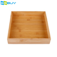 1 Pc Square Traditional Kitchen Cooking Home Bamboo Drawer Organizer Box (25X25X5CM) Eco friendly