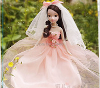 Legal Copy Genuine Original 10 jointed moveable Pink Wedding Dress Kurhn Doll / Lovely Pink Skirt Veil Set for Barbie Doll Gift