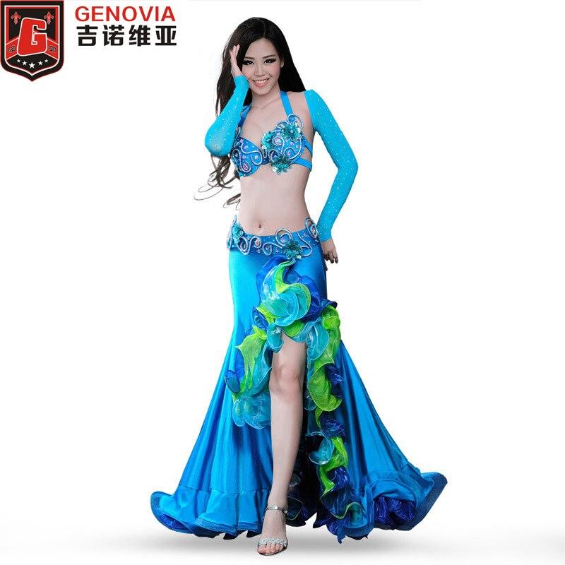 Performance femmes danse du ventre Costume 4 pièces ensemble complet Bellydance Blouse Top & soutien-gorge & ceinture & jupe 34B/C 36B/C 38B/C Dancewear