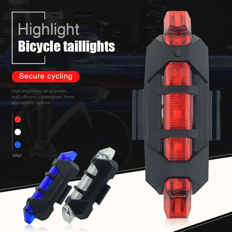 Bike Bicycle Light LED Taillight Rear Tail Safety Warning Cycling Portable Light, USB Rechargeable Or Battery Style