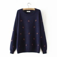 Plus size autumn winter O Neck women Knitted pullovers 2018 embroidery ladies sweater wool female 4XL winter clothes women