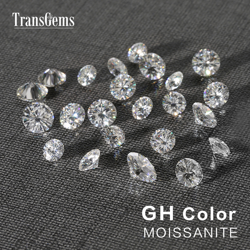 TransGems 1 Pièce Diamètre 8mm GH Incolore Ronde Coeurs et Flèches Cut Lab Grown Moissanite pour La Fabrication de Bijoux Sur 2 Carat - 3