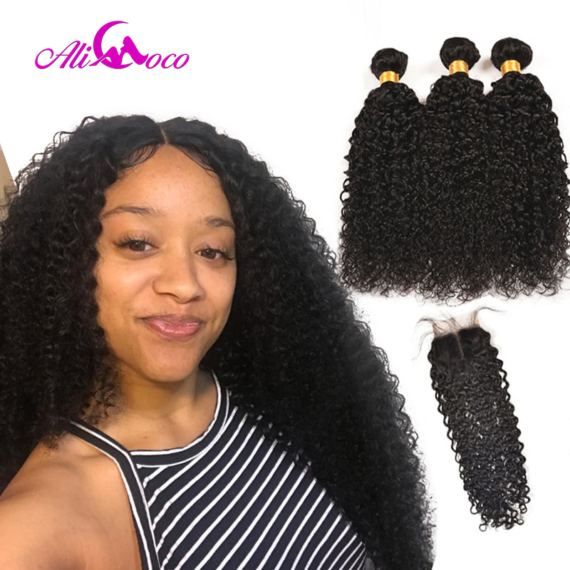 Ali Coco Brazilian Kinky Curly Hair Weave Bundles With 4*4 Lace Closure Human Hair Bundles with Baby Hair Closure Non Remy-in 3/4 Bundles with Closure from Hair Extensions & Wigs    1
