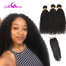 Ali Coco Brazilian Kinky Curly Hair Weave Bundles With 4*4 Lace Closure Human Hair Bundles with Baby Hair Closure Non Remy цены онлайн