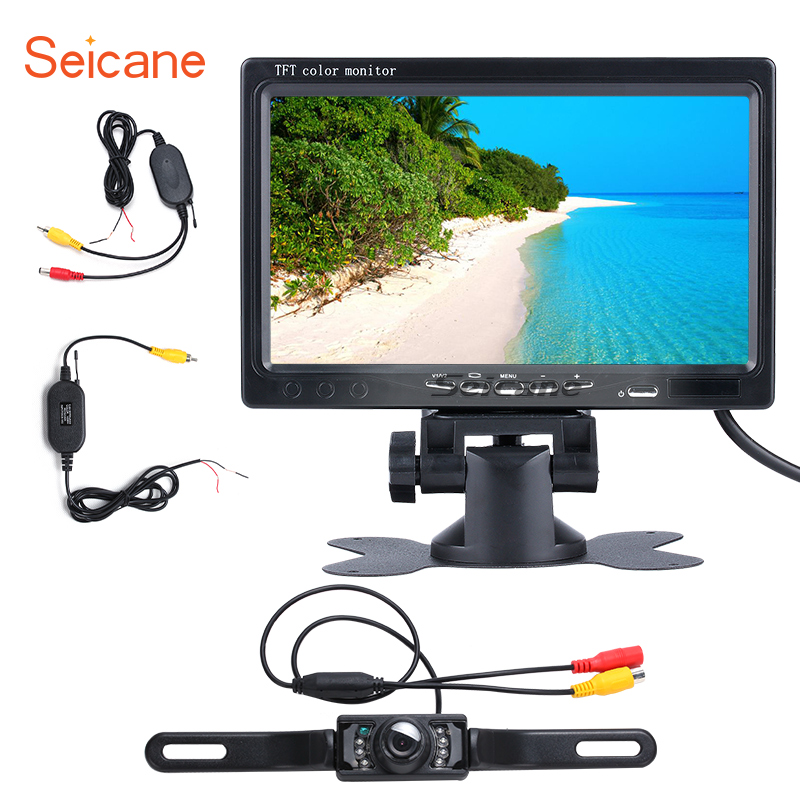 Seicane Universal 7 inch HD 1024*600 Backup Rearview Camera Digital Video Recoder DVR Reverse System TFT LCD Parking Monitor