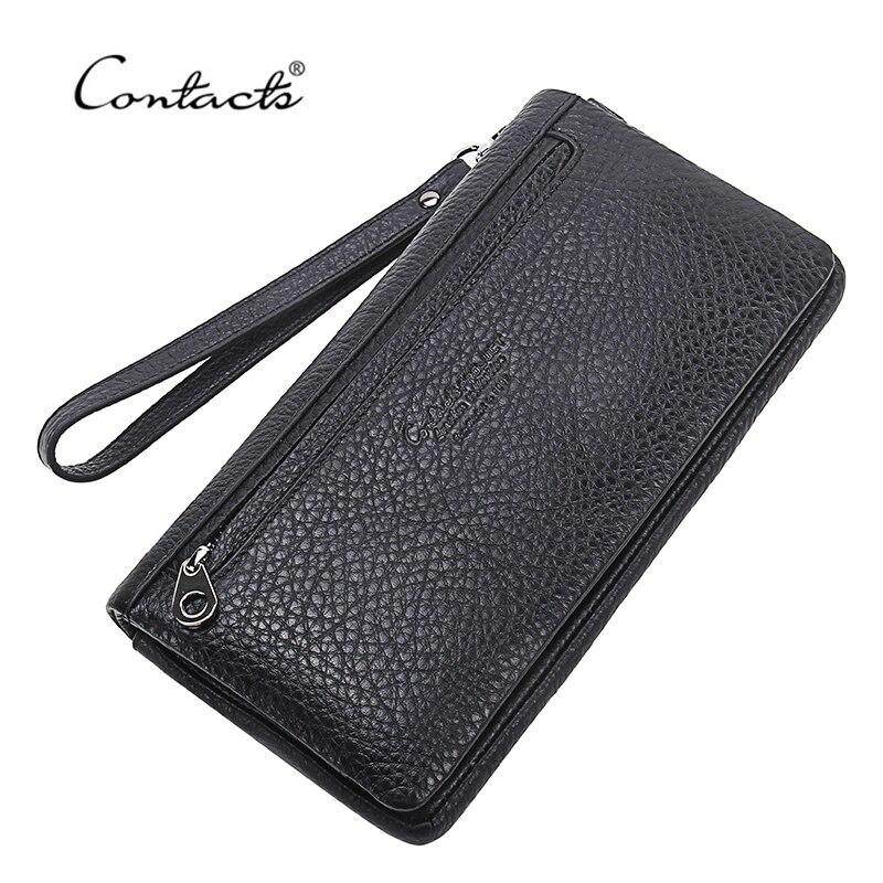 CONTACT S Top Quality Cowhide Leather font b Men s b font Long font b Wallet