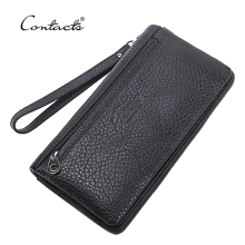 CONTACT'S Top Quality Cowhide Leather Men's Long Wallet Clutch Brand Designer Wrist Bag Black Wallets And Purses Card Holder