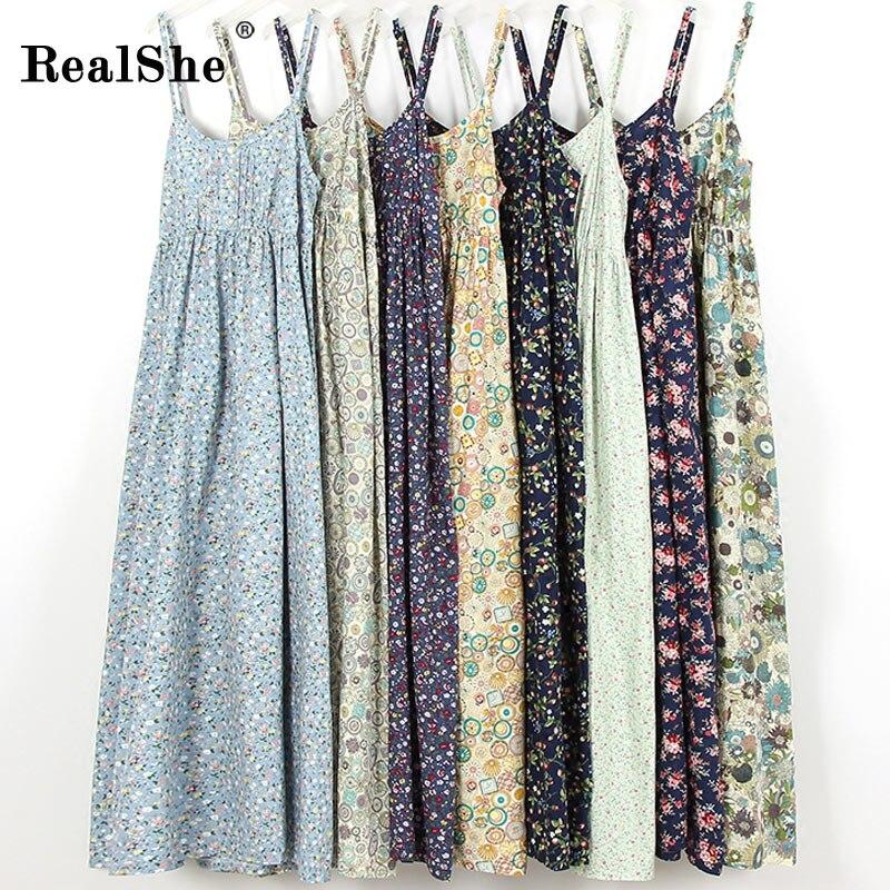 RealShe New Woman Casual Long Summer Dress Beach Womens Dresses 2018 Mori Girl Sleeveless Print Floral Ladies Dresses Vestidos