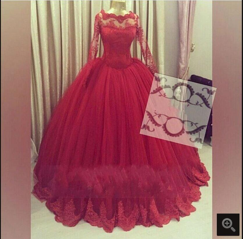 Charming Dark Red Ball Gown Lace Appliques   prom     dress   Long Sleeves sexy Tulle princess   prom   gowns Robe De Soiree   Prom     Dresses