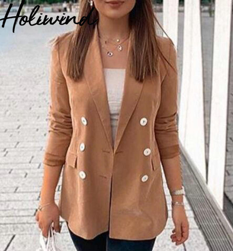 2019 Autumn New Women Double Breasted Office Lady Blazer Coat Elegant Pockets Slim Camel Blazer And Jacket Red Green Blazers