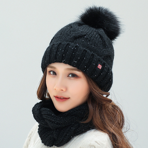 Image 5 - 2018 Winter Fashion Sequins Knitted Hat Scarf Set Pompom Beanies Hat For Women brand new thick skullies Warm neck female cap