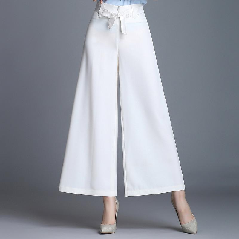 Pantalones blanco Cintura Tobillo Mujeres Palazzo Pierna Las Longitud Ancha naranja rojo caqui Negro Casual Mujer De Alta verde 5qnwzTXpHx