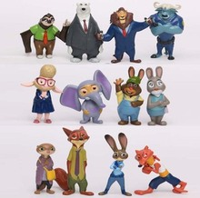 New Movie Cartoon Zootopia 12pcs/Set 4-8CM Nick Judy ect. Animals Action Figure Zootopia PVC Toys For Kids Free Shipping