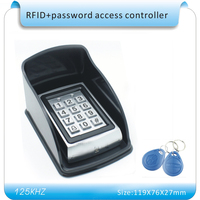 Free shipping metal shell + Waterproof case password & 125KHZ RFID Entry Door Lock Access Control System + 10 KeyFob
