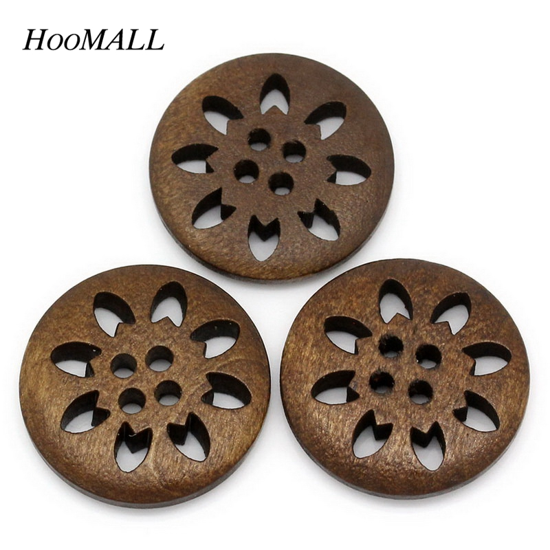 Hoomall Brand 25PCs 25mm Wooden Buttons Sewing Snowflake Carved 4 Holes Brown Scrapbooking