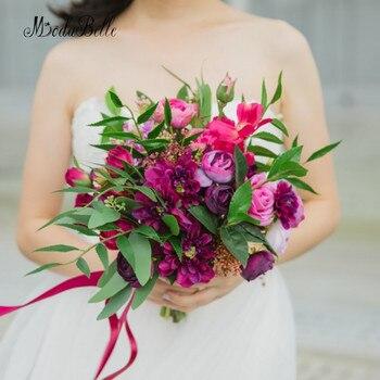 5eea53580f4a JaneVini Rose Red lujo Crystal Wedding Bouquet Flor de satén perlas  Rhinestone azul real nupcial ramos de novia Ramo Flores