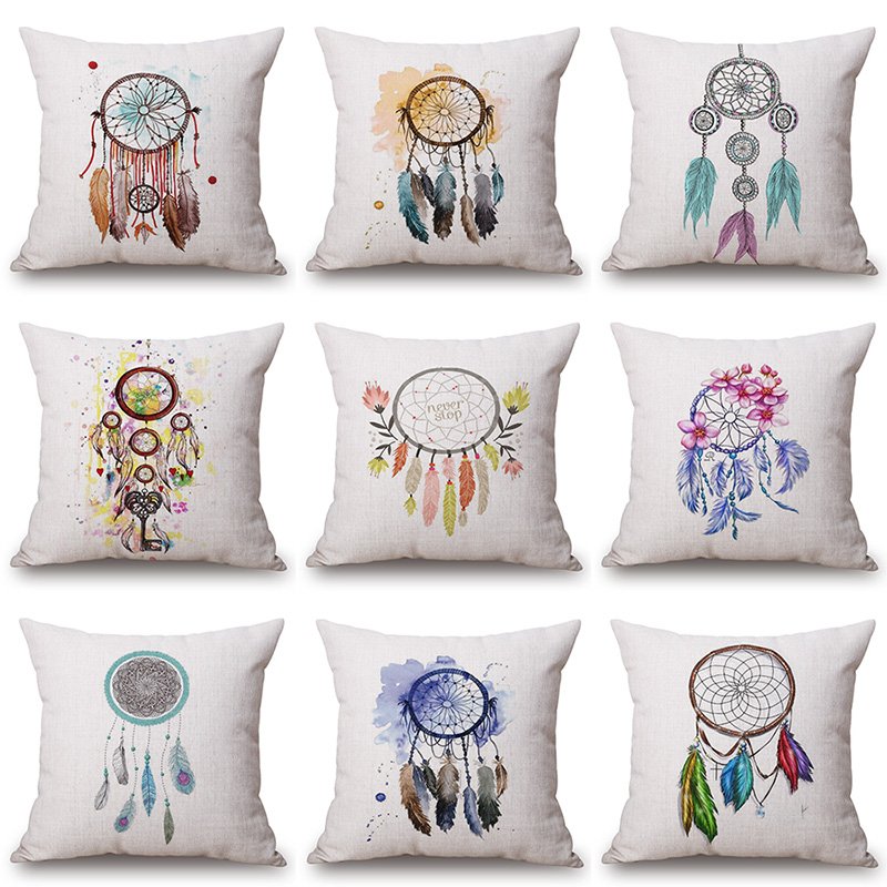 Feather Aeolian Bells Printed Cotton Linen Pillowcase Decorative Cushion Pillows Use For Home Sofa Car Office Almofadas Cojines