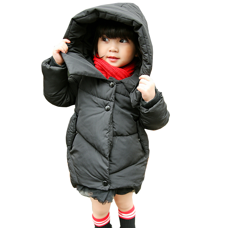 2017 New Fashion Girls Winter Warm Coat Kids Jacket Hooded Snow Wear Cotton Down Outerwear Girl Solid Color Winter Clothes children winter coats jacket baby boys warm outerwear thickening outdoors kids snow proof coat parkas cotton padded clothes