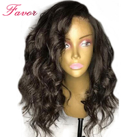 Favor Body Wave Lace Bob Wig Lace Front Human Hair Wigs Pre Plucked Hairline Short Brazilian Remy Hair Wavy Wigs With Baby Hair