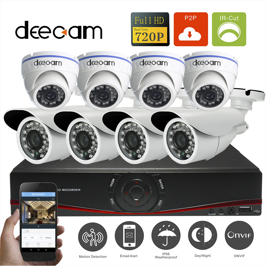 Deecam CCTV 8CH 720P POE NVR System 8pcs 720P POE Indoor/Outdoor network IP Cameras video Surveillance Cameras kit POE onvif