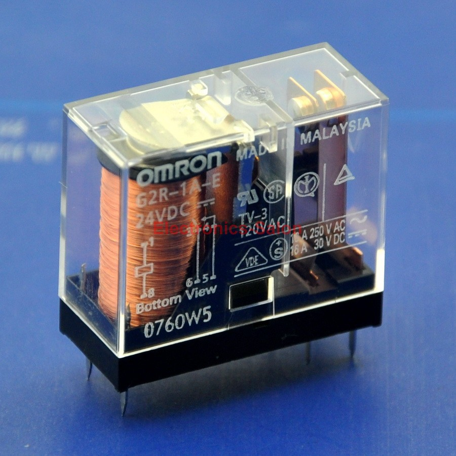 (2 Pcs/lot ) 16 Amp SPST-NO Power Relay, G2R-1A-E 24V DC.