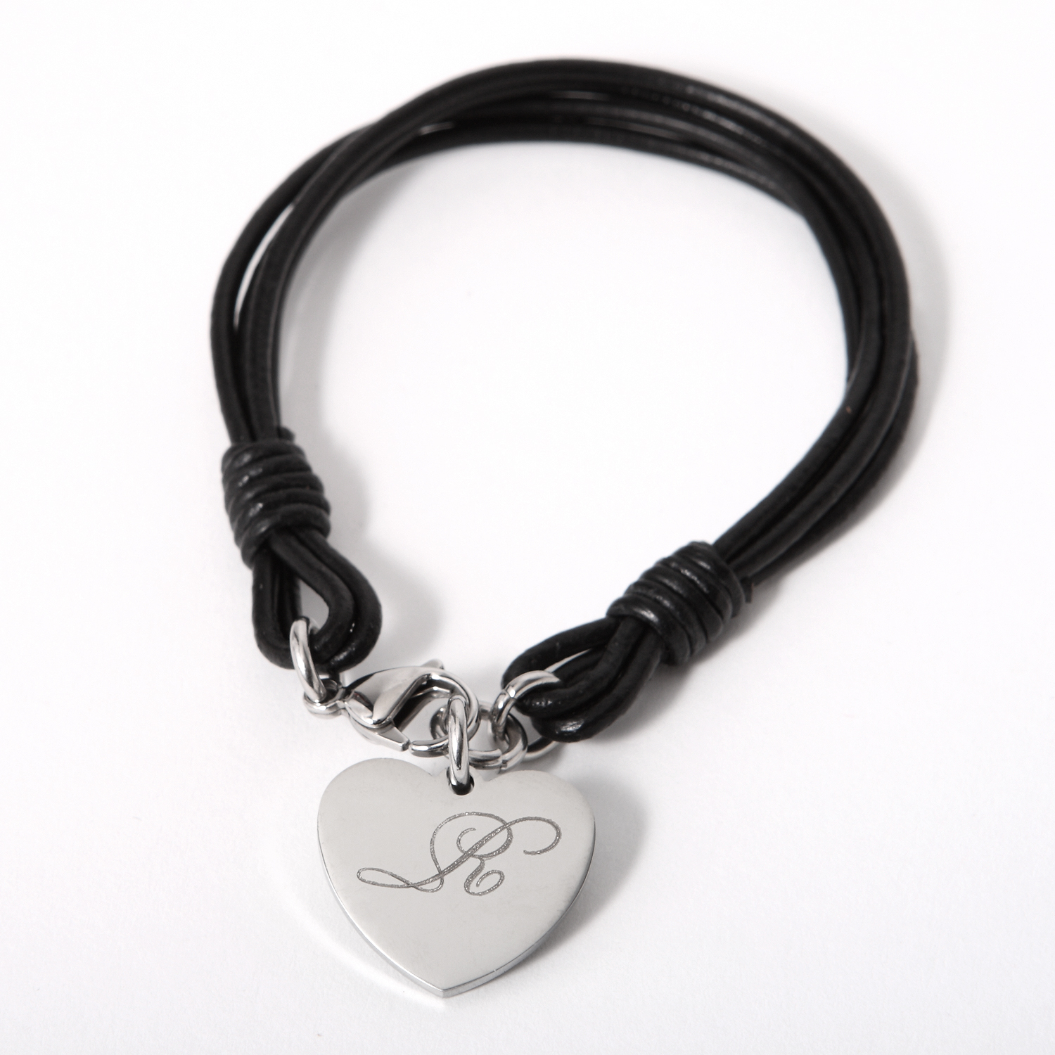 Personalized Bracelet Charms: Personalized Leather Bracelet With Stainless Steel Key And