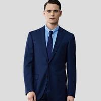 Синие мужские костюмы шерсть смешивается Элегантный джентльмен мужские свадебные костюмы смокинги высокого качества платья для выпускног