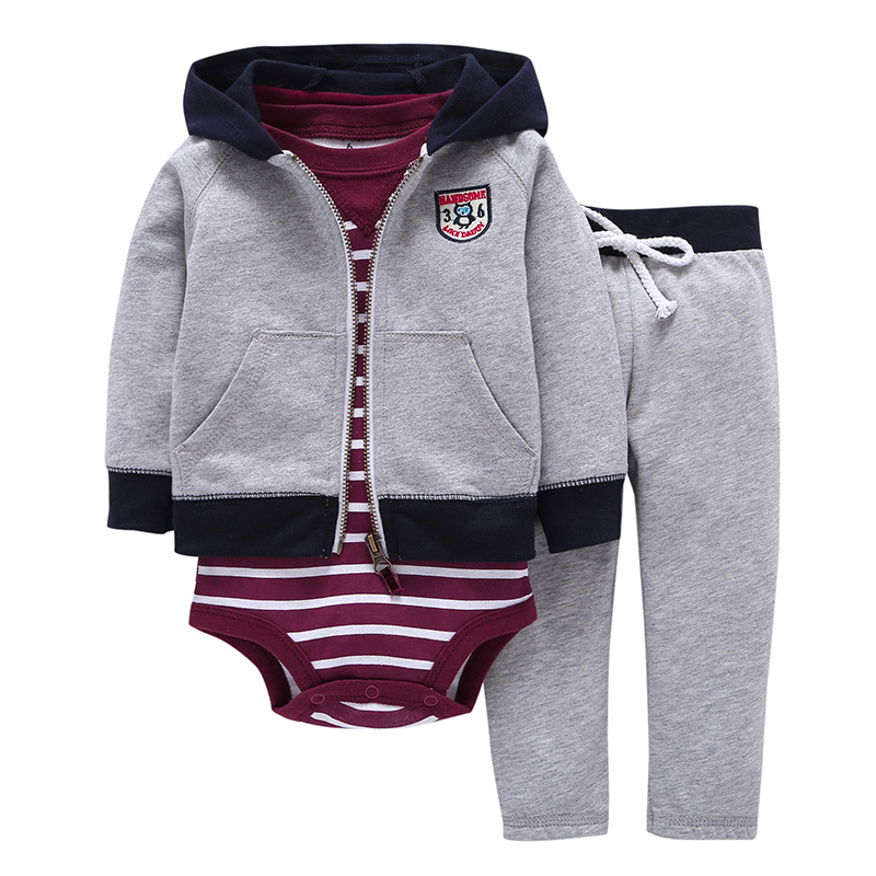 New Fashion 2017 Bebes Coat+pants+baby Romper Autumn Winter Sets 6~24 Months Baby Boys Gis Clothes Cotton Bodysuit Infant 3pcs 2017 new cartoon pants brand baby cotton embroider pants baby trousers kid wear baby fashion models spring and autumn 0 4 years