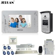 "JERUAN white 7"" TFT color video door phone intercom system 700TVL new RFID Access IR Night Vision Camera+Electric mortise lock"