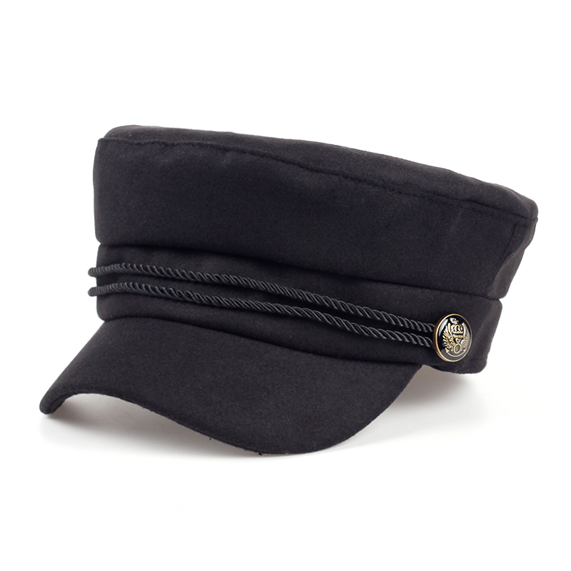 Fashion Blank Black High Quality Newsboy Caps For Women Spring Autumn Winter Hats Felt Cap Winter Ladies Black Hat Beret Cap