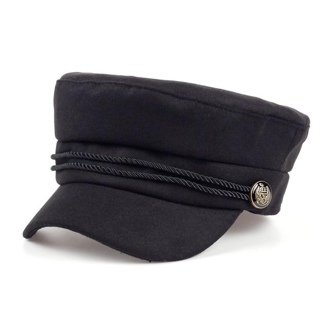 Gorros de Newsboy de alta calidad negros en blanco a la moda para mujeres  primavera Otoño f9e4da356df