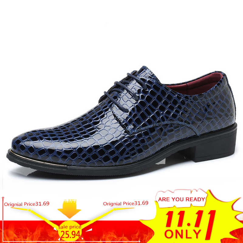 цены на BIMUDUIYU Crocodile Pattern Leather Men's Wedding Shoes Italian Luxury Dress Shoes Men Business Fashion Formal Shoes Plus Size в интернет-магазинах