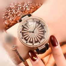 Irregular Rotary Womens Quartz Watch Hot New Fashion Full Rhinestone Ladies Multi-Color Optional