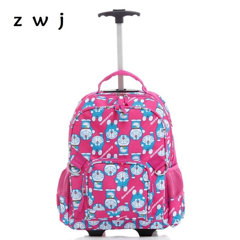 new good quality cartoon children trolly school bag trolley doraemon luggage backpack for boys and girls