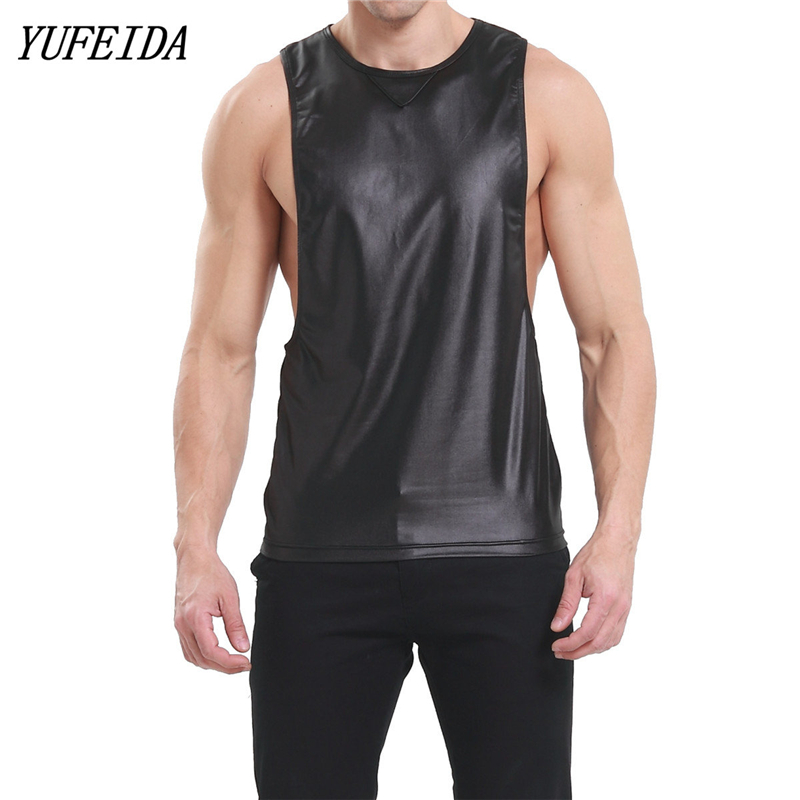 f228d8cf819 Detail Feedback Questions about Men PU Leather T Shirts Men Sexy Fitness  Tops Black and Red T shirt Tees Mens stage T shirt O Neck Sexy Men Casual  Clothes ...