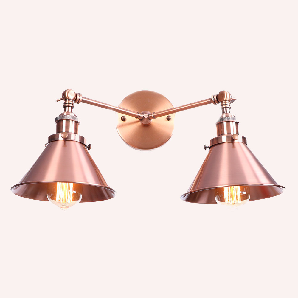 Country style 2 head wall lamps copper gold black silvery wrought iron lampshade wall lighting for stairs aisle bedroom bedside nordic vintage designer lamps creative bedside bedroom single head black wrought iron balcony stairs edison lamps wall lamp