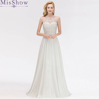 2019 White Long Prom Dress Vestido de Festa Floor Length Party Formal Gown Dress A Line Cut out Front Beaded Prom Dresses