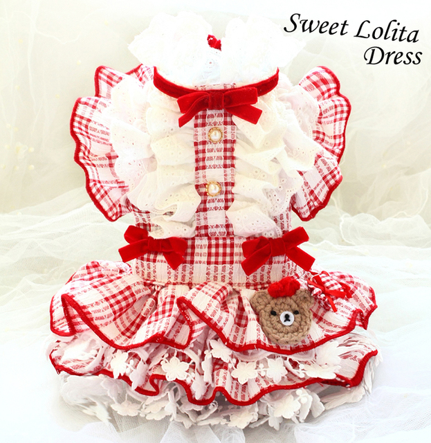 Free shipping handmade luxurious dog clothes red plaid Lolita court doll style princess dog dress adorable for pet cat