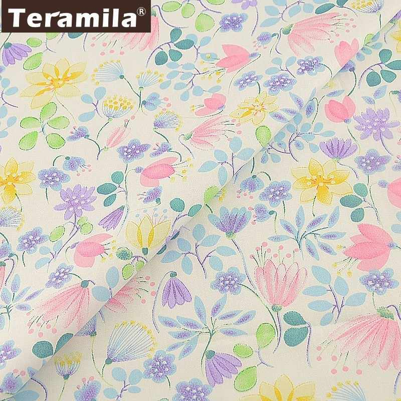 Teramila Twill 100% Cotton Floral Fabric Flowers Quilting Tecido Sewing Patchwork Telas DIY Tissus Au Metre White Scrapbooking