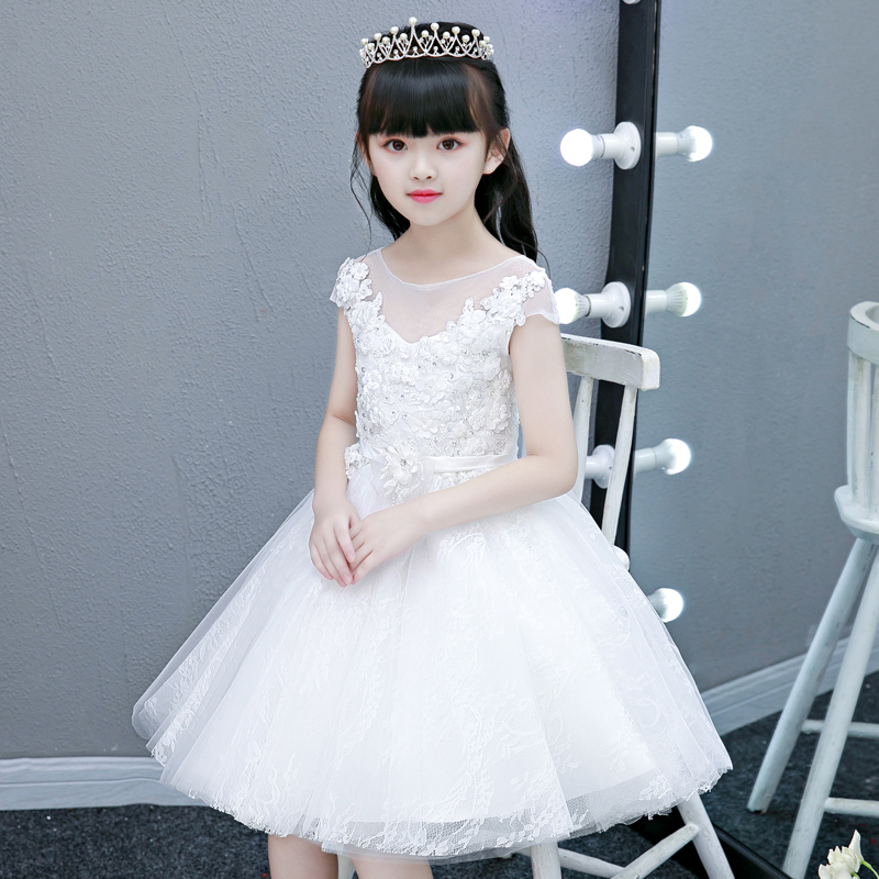 2018 Summer New Kids Baby White Color Princess Lace flowers Dress For Birthday Party Children Girls Wedding Evening Party dress 2018 new children girls elegant pure white color birthday wedding party princess lace flowers dress baby kids model show dress