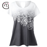GIYI Plus Size Floral Ombre Tie Dye T Shirt Women Summer 2017 Short Sleeve Casual Oversized