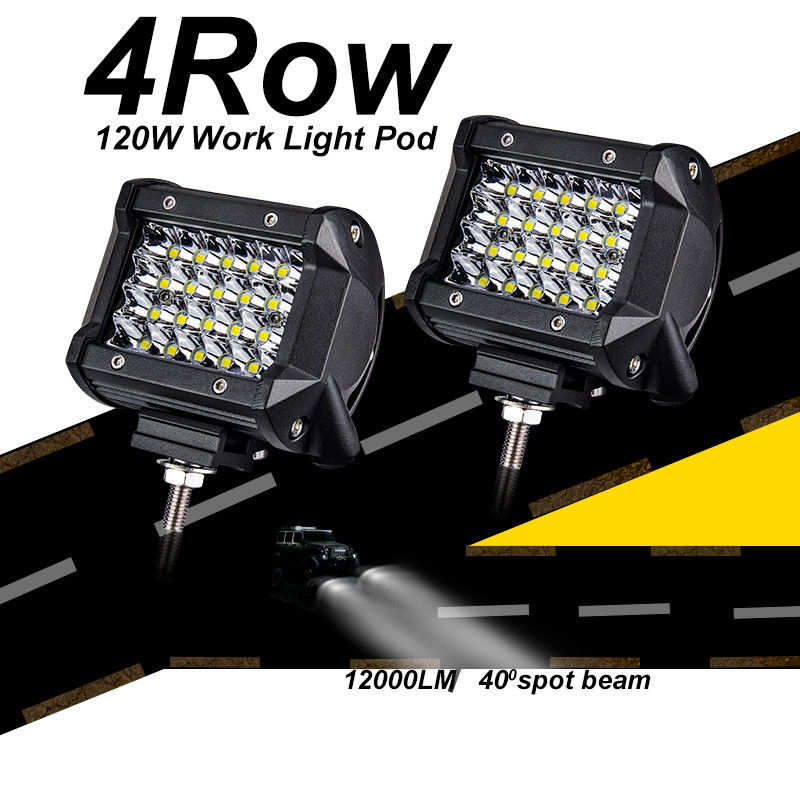 Mayitr 1pc 4 inch 120W 24LED Work Light Bar Spot Beam for Off-road Jeep Driving Lamp Motorcycle Boat