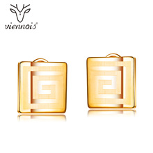 Viennois Stud Earrings for Women Jewelry Square Gold Fashion Jewellry
