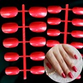 24pcs (11 size) Oval Shape Tip Pearl Shine Satin Red Carnival Candy Lady Arylic Fake False Nail Tips Full Wrap R26-15227X